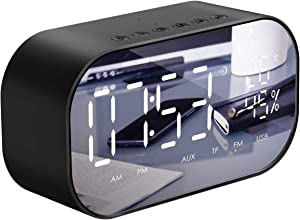 Alarm Clock Radio, Leyeet Alarm Clocks for Bedroom with Wireless Bluetooth Speaker, USB Charger, TF Card Play, Thermometer, Large Mirror LED Dimmable Display AUX-in Function for Home, Office, Travel