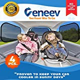 Car Sun Shade for Side and Rear Window (4 Pack) - Car Sunshade Protector - Protect your kids and pets in the back seat from sun glare and heat. Blocks over 98% of harmful UV Rays - Easy to Install Image