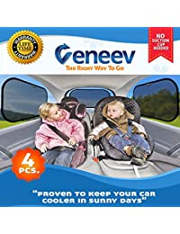 Car Sun Shade for Side and Rear Window (4 Pack) - Car Sunshade Protector - Protect your kids and pets in the back seat from sun glare and heat. Blocks over 98% of harmful UV Rays - Easy to Install BOBEBE Online Baby Store From New York to Miami and Los Angeles