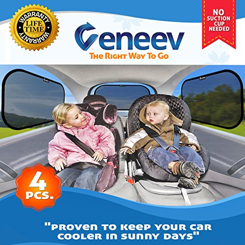 : Car Sun Shade for Side and Rear Window (4 Pack) - Car Sunshade Protector - Protect your kids and pets in the back seat from sun glare and heat. Blocks over 98% of harmful UV Rays - Easy to Install