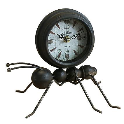 HSRG Desk Clock Escritorio Reloj Retro Hormigas De Hierro Modelo Decoración Adornos Creativo Inicio Escritorio Relojes