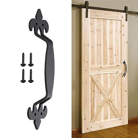 "yescom 11\"" sliding barn door handle vintage heavy duty cast iron pull gate shed garage cabinet closet matte black"