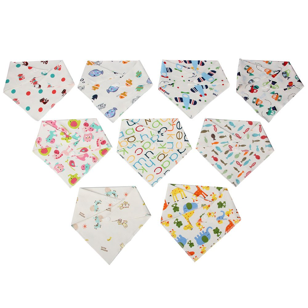 WEEARE 9-Pack Baby Bandana Bibs | 100% Organic Cotton Bibs for Drooling and Teething Feeding | Ultra Soft & Super Absorbent Hypoallergenic Unisex Bibs for Teething Boys & Girls