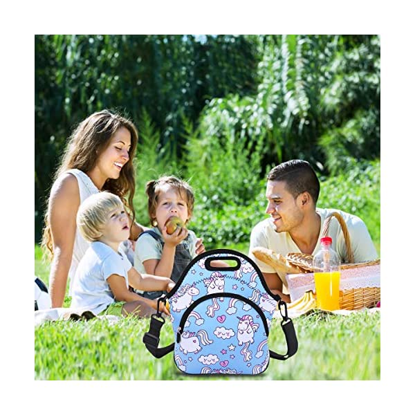 Neoprene Lunch Bag Reusable Tote Bag Insulated Lunch Box Adult Large Lunch Tote Handbag Fordable for Men & Women, Boys & Girls, 9