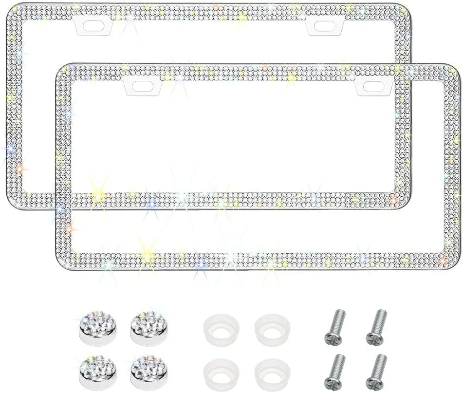 6 Rows Handmade Finest 14 Facets SS20 Diamond Stainless Steel 4 Holes License Plate Holder Cover with Gift Box Otostar 2 Pack Bling Crystal Car License Plate Frame Black