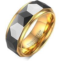 Rockyu ジュエリー アクセサリー タングステン 指輪 メンズ リング シンプル 超硬い 耐久性に優れた 高級 幅 8mm