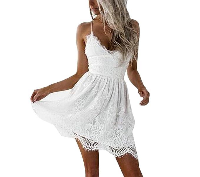68cfa68c01 Yingshif Women's Camisole Fashion Cozy Lace Stiching Open Back Beach Dress  Beige White XS