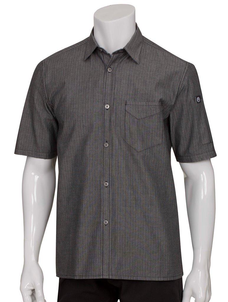 Chef Works Men's Detroit Short Sleeve Denim Shirt (SKS002) SKS002-BLK-2XL