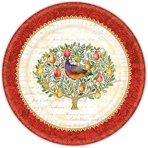 Punch Studio Holiday Collection Set of 8 Dessert Paper Plates (12 Days Of Christmas) (12 Days Of Christmas Napkins)