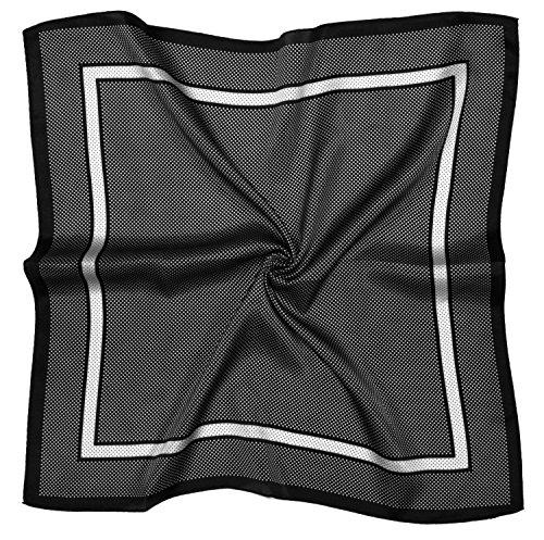 White Spot Silk Scarf (Black White Spot Printed Thick Small Silk Square Scarf)