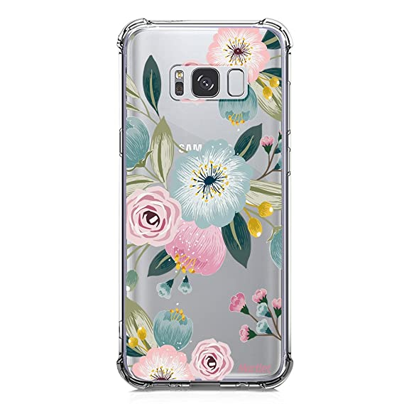 bc62d2f6a308 Galaxy Note 8 Case for Girls Women Clear with Pink Flowers Floral Pattern  Design Shockproof Protective