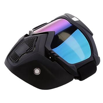 MagiDeal Casco con Máscara Gafas Regalo de Motorista Piezas para Motocicleta - Multicolor