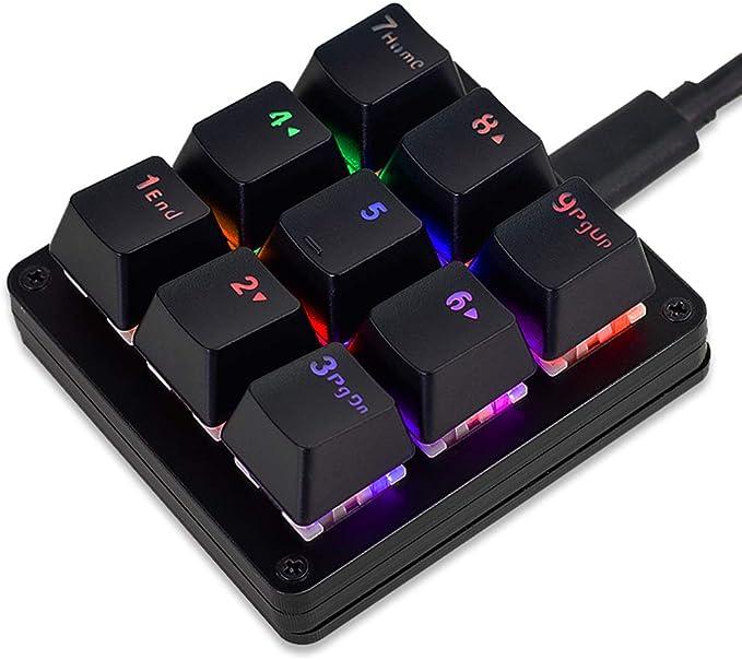 VAYDEER Teclado mecánico macro con una sola mano, personalizable, mini teclado portátil para videojuegos con retroiluminación LED RGB ajustable y 9 ...