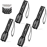 Linkax LED Torch Tactical Flashlight 4 Pack Super Bright Handheld Flashlights 5 Modes Pocket Torch for Camping,Hiking and Outdoor(12 x AAA Batteries Included)