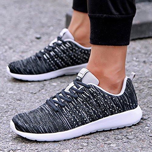 AFFINEST Scarpe Mesh Platform Dimagranti Sportive Basculanti Fitness Scarpe Da Ginnastica Sneaker Sommer und Winter schwarz-A