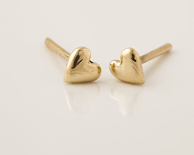 5b90354d3 Image Unavailable. Image not available for. Color: Tiny Heart Stud Earrings,  14k Gold ...