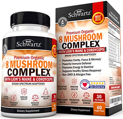 Organic Mushroom Complex with Lions Mane & Cordyceps – Beta Glucan Supplement for Immune Response & Memory Support…