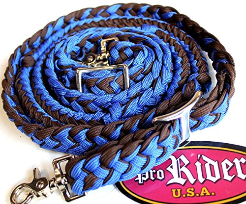 PRORIDER Horse Roping Western Barrel Reins Nylon Braided Knotted Blue Brown Tack 607142