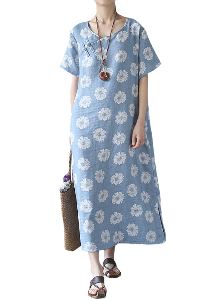 Minibee Women's Daisy Flower Print Dress Summer Pocket Dress Style 1 Blue