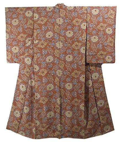 機密うんスパークアンティーク 着物  唐花や華文 裄61.5cm 身丈148cm 正絹 袷