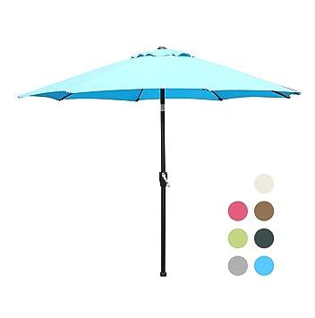 Exceptionnel Blissun 9u0027 Patio Umbrella Aluminum Semi Auto Autotilt And Crank Garden  Parasol (Light