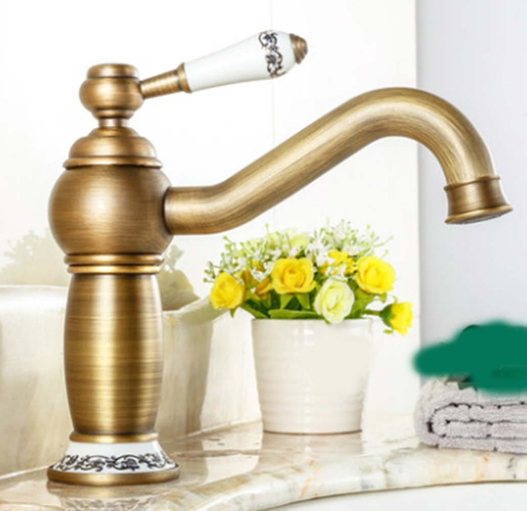 M Hlluya Professional Sink Mixer Tap Kitchen Faucet Hot and cold, full of copper, and can be redated, washbasin, single handle single hole sink faucet,F
