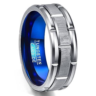 Amazon.com: nuncad para hombre Anillo de banda azul anillo ...