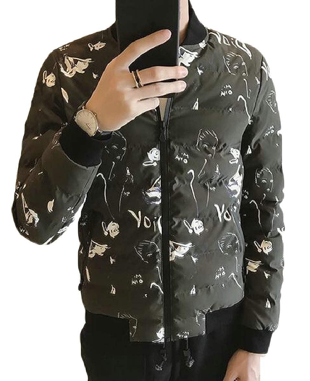 xtsrkbg Mens Slim Fit Printed Zip Padded Coat Baseball Quilted Jacket Outwear