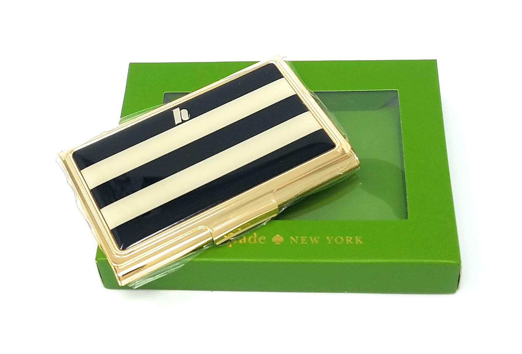 Kate Spade Down To Business Business Card Holder''H'', Black/White Stripe