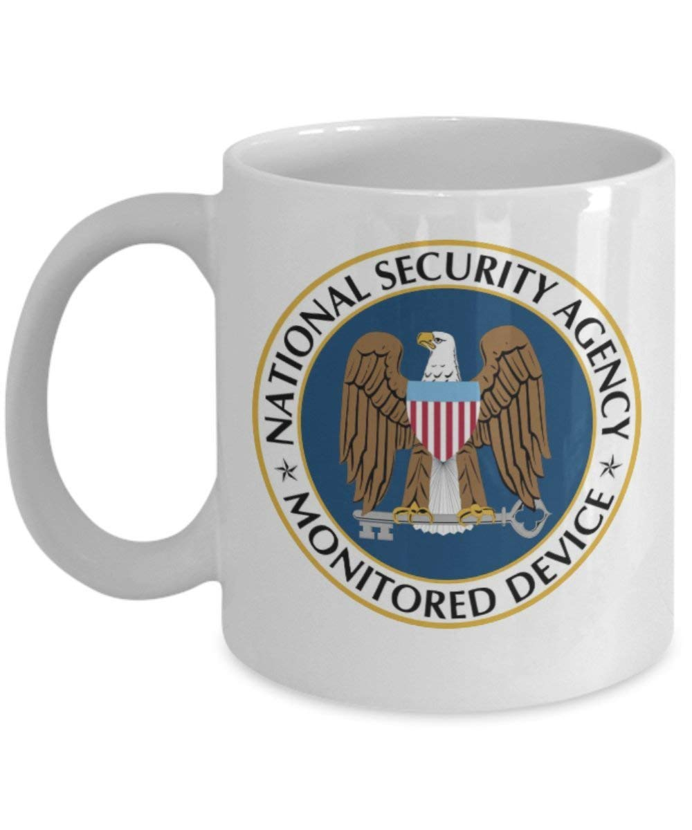 National Security Agency Monitored Device Coffee Mug Cup (White) 11oz NSA Gifts Accessories Shirt Sticker Decal Pin Gear Logo Patch Poster