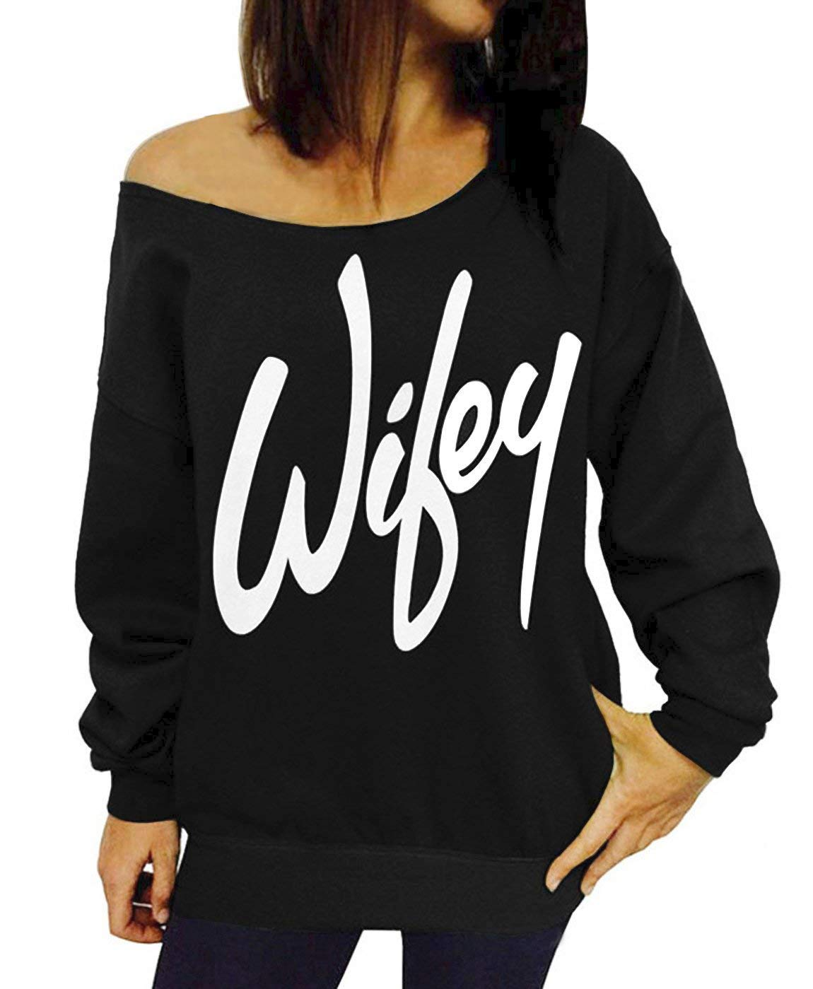 RJXDLT Women's Off Shoulder Sweatshirt Slouchy Pullover Tops Long Sleeve Casual Shirt Love M