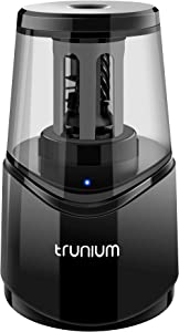 TRUNIUM Electric Pencil Sharpener Heavy Duty, Portable Pencil Sharpener for Home, Colored/Wooden Pencil for 6-8mm, USB/AC Operated in Office School
