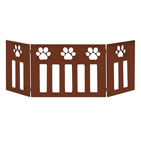 Etna 3 Panel Wood Pet Gate With Paw Print Cutout Design Freestanding Tri Fold Dog Fence For Doorways Stairs Indooroutdoor Pet Barrier
