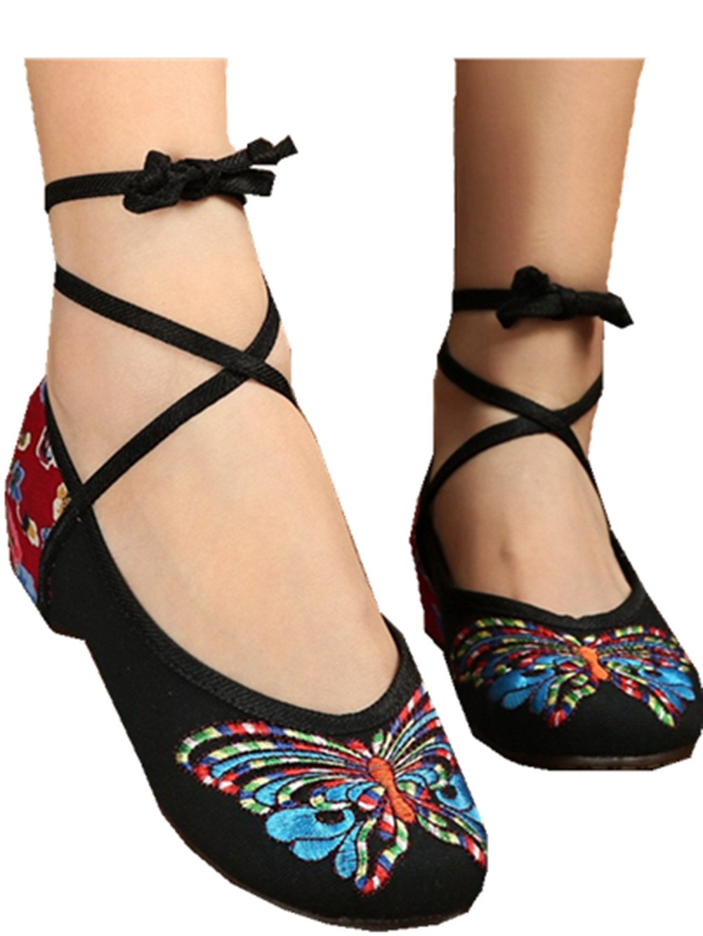Details about  /Women Casual Flats Loafers Ankle Strap Cloth Chinese Flower Embroidered Shoes @