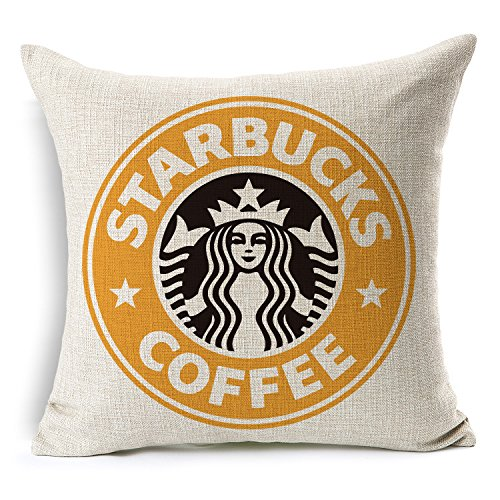 Price comparison product image Throw Pillow Case Starbucks Coffee Logo Decor Cushion Covers Square 1818 Inch Beige Cotton Blend Linen