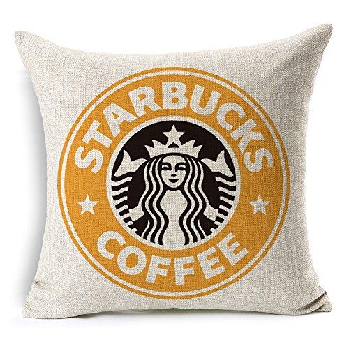 Spit up Pillow Case Starbucks Coffee Logo Decor Cushion Covers Square 1818 Inch Beige Cotton Blend Linen