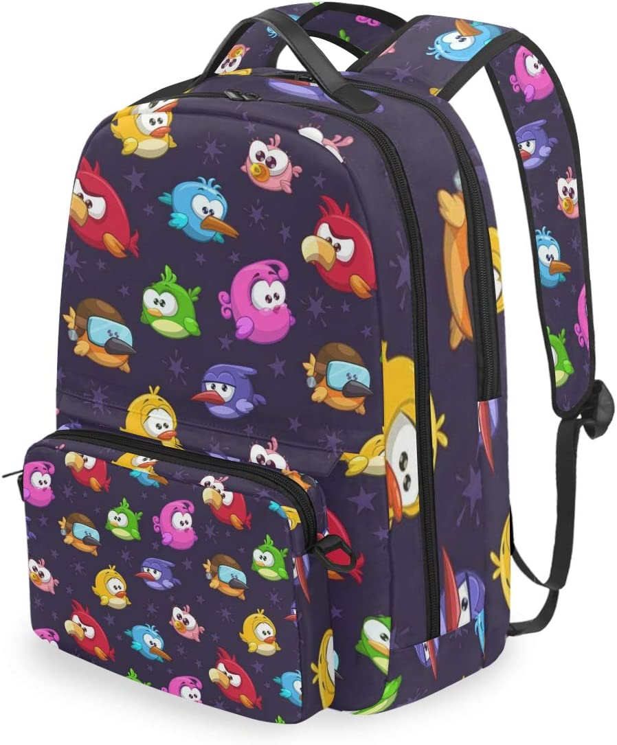 ALLMILL Seamless Pattern Funny Cartoon Trex Rock School Backpack