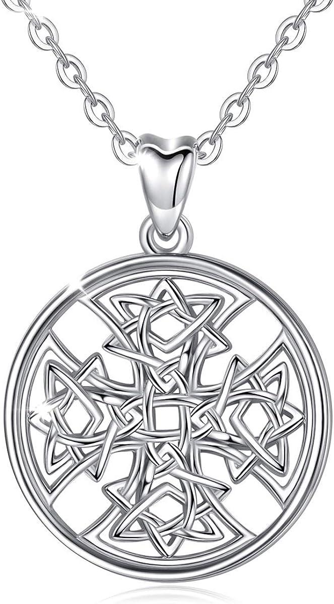 AEONSLOVE - Collar de plata de ley para mujer, diseño de nudo celta y nudo celta