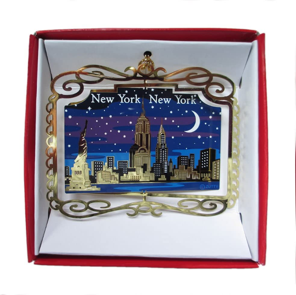 New York City at Night ORNAMENT NYC Skyline Empire State Building Statue of Liberty Travel Souvenir Gift