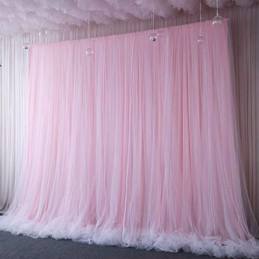 Atongham Baby Pink Tulle Chiffon Backdrop for Bridal Shower Wedding Ceremony Backdrops Curtains Newborn Baby Shower Backdrop Photo Booth Background Photography
