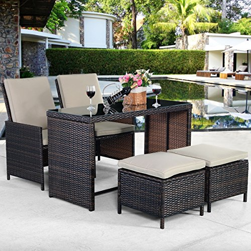 Best 3 PCs Patio Outdoor Furniture Set Rattan Wicker Made For Outdoor Garden Beach Patio And Poolside. 1 Tea Table And 2 Chairs With Seat Cushions! (Lloyd Flanders Wicker)