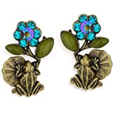 Lily Pad Frog Earrings Flower and Leaf By La Contessa - E9210