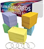 """Debra Dale Designs Small Blank Study Flash Cards - Single Hole Punched - 5 Rings - Economy 67# Vellum Bristol - 3.5"""" x 2"""" - 5 Colors - 1,100 Note Cards - Storage Organization Travel Box Attached Lid"""