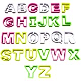 26 Piece Plastic Letter Shaped Cookie Cutter Set by Kurtzy - Strong Plastic Cutters Including Letters A-Z. Perfect Shapes for Baking Cookies Cake Decorating Icing Fondant and Sugarcraft Work