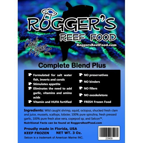 4 x Rogger's Reef Food Complete Blend Plus, 7 Oz, Best Complete Frozen Food Blend, All in One for Your Fish and Corals
