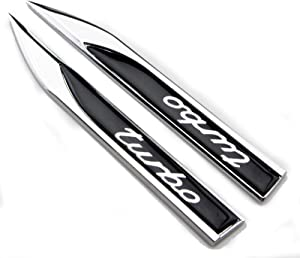 2pcs Metal TURBO Premium Car Side Fender Rear Trunk Emblem Badge Decals Universal (Knife type Turbo)