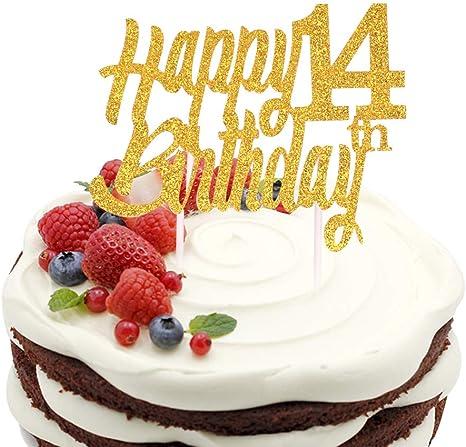 Fabulous Amazon Com Sunny Zx Glitter Gold 14 Years Loved Cake Topper 14Th Personalised Birthday Cards Veneteletsinfo