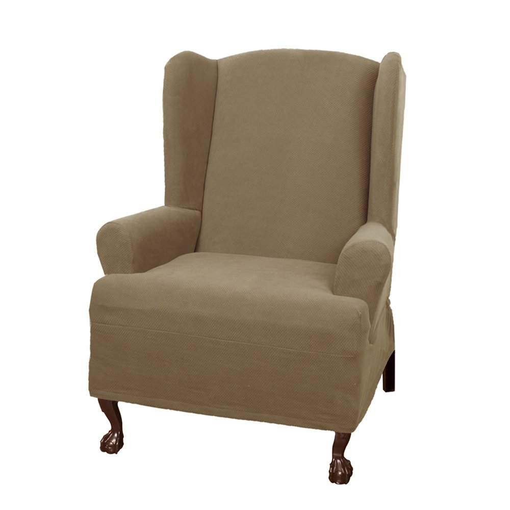 Amazon: Maytex Pixel Stretch 1piece Slipcover Wing Chair, Sand: Home &  Kitchen