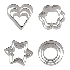 12 Pcs Stainless Steel Cookie Biscuit Cutter Set, Geometric Shapes Cookie Cutters,Vegetable Fruit Cutter Shape for Kitchen, Baking, Halloween & Christmas
