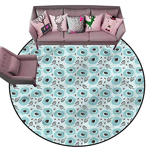 "Indoor Super Absorbs Doormat Floral,Doodle Berries Leaves Botany Diameter 60"" Round Modern Area Rug with Non-Skid"
